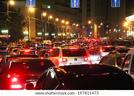 MOSCOW, RUSSIA - SEPTEMBER 29, 2012: Traffic jam at the central city street. - stock photo