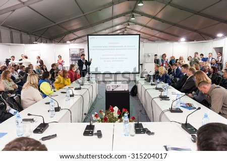 MOSCOW - SEPTEMBER, 03: Audience at conference at V Anniversary International Railway Show Engineering and Technology EXPO 1520 on September 03, 2015 in Moscow - stock photo