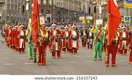 "MOSCOW - SEPTEMBER 06, 2014: international festival of military orchestra ""Spasskaya tower"", ""Mehter"" orchesra, town Iznik, Turkey. - stock photo"