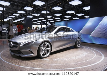 MOSCOW-SEPTEMBER 3:Mercedes-Benz Concept Style Coupe at the Moscow International Motor Show on September 3,2012 in Moscow - stock photo