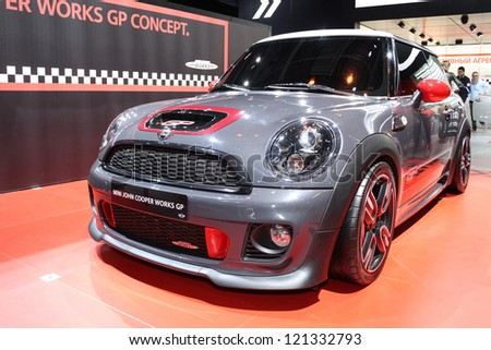 MOSCOW-SEPTEMBER 1: Mini John Cooper Works GP Concept at the international exhibition of  the automobile industry Moscow international automobile salon MIAS on September 1, 2012 in Moscow - stock photo