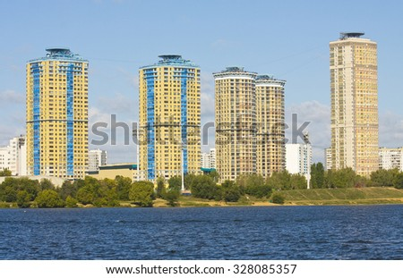 "MOSCOW - SEPTEMBER 16, 2014: modern complex ""Amber city"" in region Strogino on bank of Moskva-river, has been built in 2009 year. - stock photo"