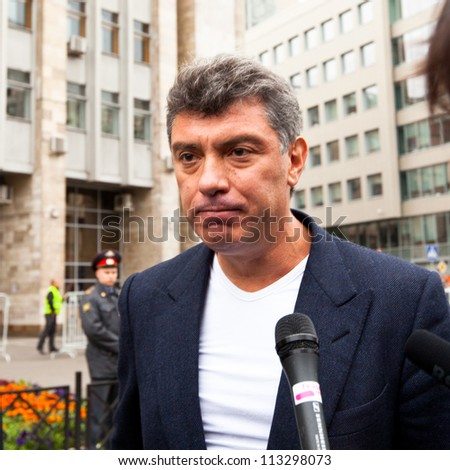MOSCOW - 15 SEPTEMBER: One of the opposition leaders, former first deputy prime minister Boris Nemtsov, during an anti-Putin protest in central on September 15, 2012 in Moscow. - stock photo