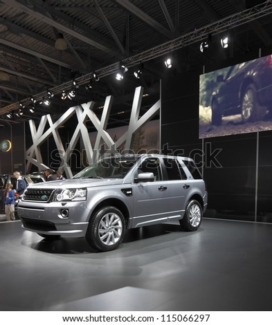 MOSCOW-SEPTEMBER 3:The world premiere of Land Rover Freelander 2 at the Moscow International Motor Show on September 3,2012 in Moscow - stock photo