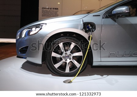 MOSCOW-SEPTEMBER 1: Volvo V60 Plug-in Hybrid at the international exhibition of  the automobile industry Moscow international automobile salon MIAS on September 1, 2012 in Moscow - stock photo