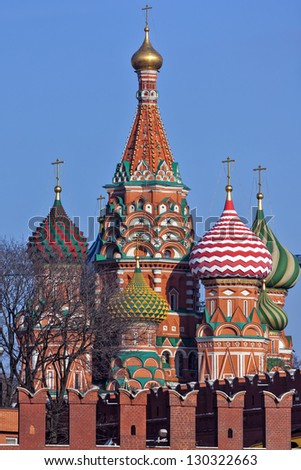 Moscow, St. Basil Cathedral, clear winter day. - stock photo