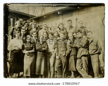 "MOSCOW, USSR - CIRCA 1940s : An antique photo shows A group of Soviet students. ""Soviet people"" series.  - stock photo"