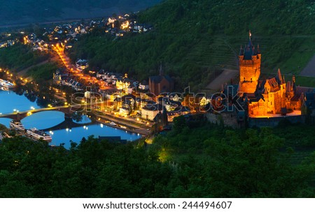 Mosel river and Cochem Imperial Castle - stock photo