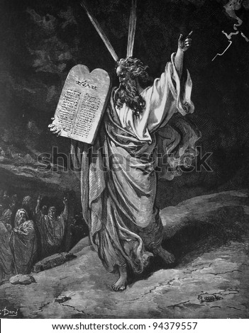 Moses and the commandments. 1) Le Sainte Bible: Traduction nouvelle selon la Vulgate par Mm. J.-J. Bourasse et P. Janvier. Tours: Alfred Mame et Fils. 2) 1866 3) France 4) Gustave Doré - stock photo