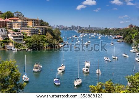 Mosman Bay on the north shore of Sydney - stock photo
