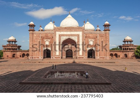 mosque and shadow of taj mahal - stock photo