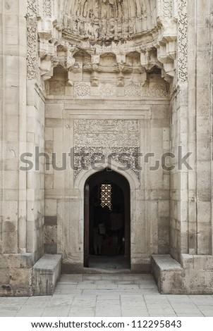mosque door in baku azerbaijan street - stock photo
