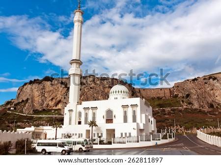 Mosque Ibrahim al-Ibragim at Europa Point, Gibraltar - stock photo