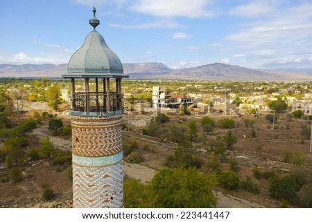 Mosque in Agdam, Nagorno Karabakh - stock photo