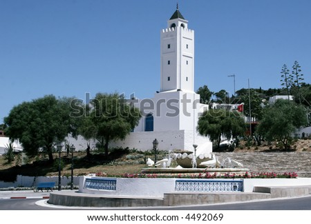 mosque in Sidi Bou Said near Tunis Tunisia North Africa - stock photo