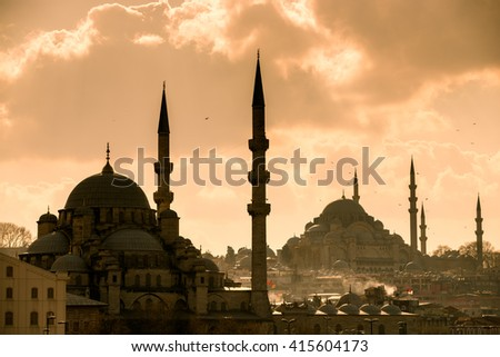 Mosque, Istanbul's historic center. cityscape - stock photo