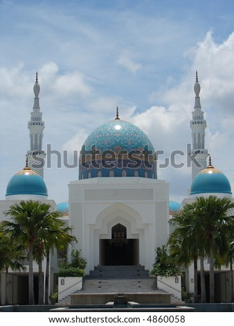 Mosque - typical landmark in Malaysia - stock photo