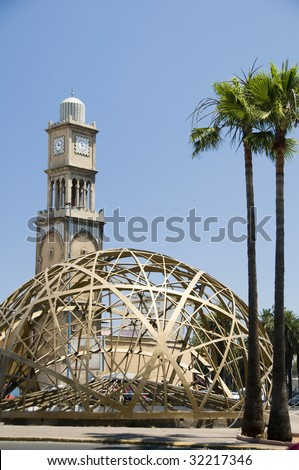 mosque with modern architecture on blvd. Mohammed V by old Medina in downtown Casablanca morocco - stock photo
