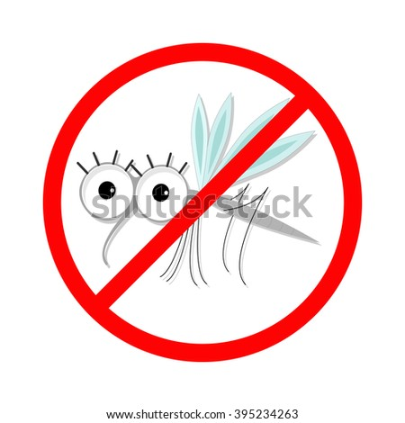 Mosquito. Red stop sign icon. Cute cartoon funny character. Insect collection.  White background. Isolated. Flat design. - stock photo