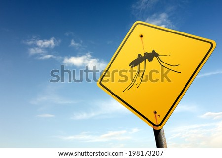 Mosquitoes area ahead. Yellow traffic sign. - stock photo