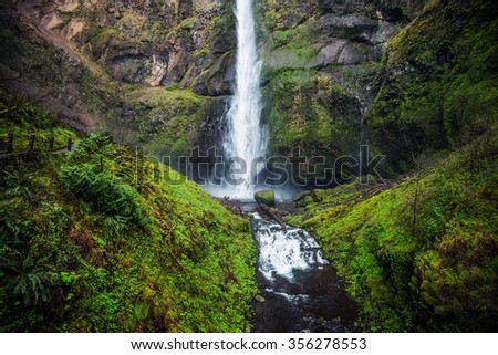 Mossy Oregon Waterfall. Oregon Columbia River Gorge Area. United States. Scenic Waterfall. - stock photo