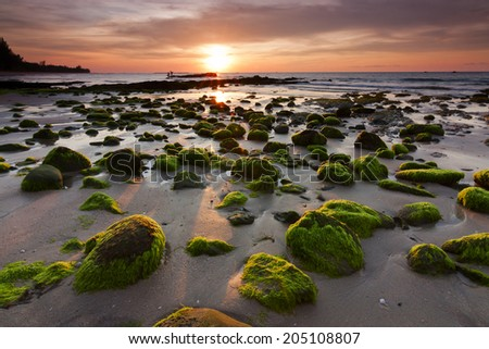 Mossy rocks at sunset in Kudat, Sabah, East Malaysia, Borneo - stock photo