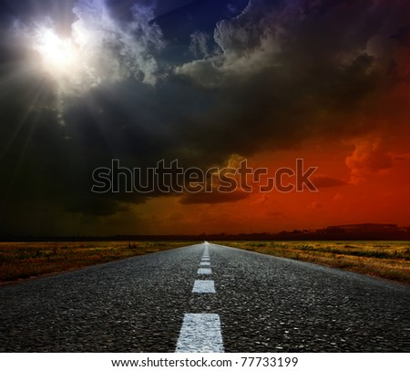 Most asphalt road. Shallow depth of field - stock photo