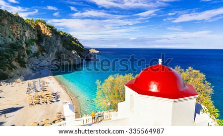 most beautiful beaches of Greece. Karpathos island. Kyra panagia - stock photo