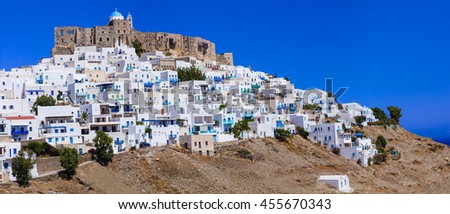 most beautiful Greek islands - Astypalea, Dodecanese view of Chora and Castle - stock photo