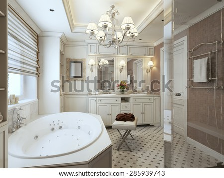Most classic bathroom in brown, beige and white. 3d render. - stock photo