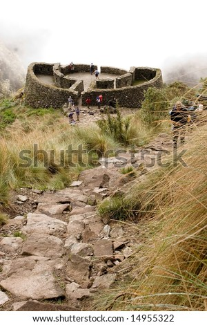 most popular of the Inca trails for trekking is the Capaq Ã?Â?Ã?Â?an trail, which leads from the village of Ollantaytambo to Machu Picchu - stock photo