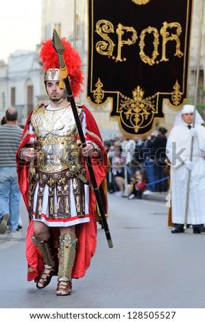 MOSTA, MALTA - APR 22 : Roman centurion during in the Good Friday procession in the village of Mosta in Malta April 22, 2011 - stock photo