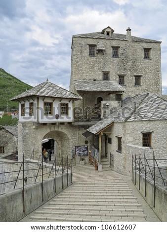 Mostar Bridge, Mostar, Bosnia and Herzegovina - stock photo