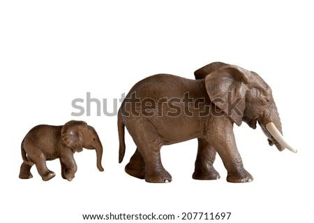 mother and baby elephant toys isolated on white background - stock photo