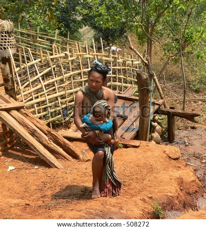 Mother and baby from Tribal Village Myanmar (Burma) - stock photo