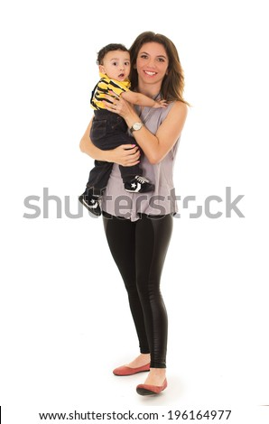 mother and baby on a white background - stock photo