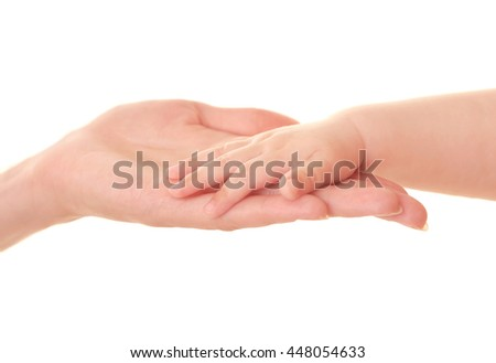 Mother and baby's hands isolated on white - stock photo