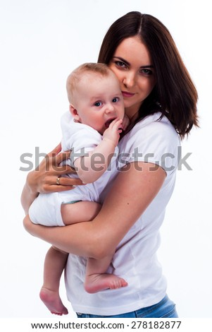 mother and baby studio white  - stock photo