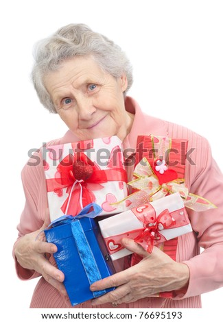 mother and boxes with gifts on white background - stock photo