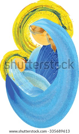 Mother and child, blessed virgin mary with baby jesus holy family Christmas nativity simple abstract watercolor illustration - stock photo
