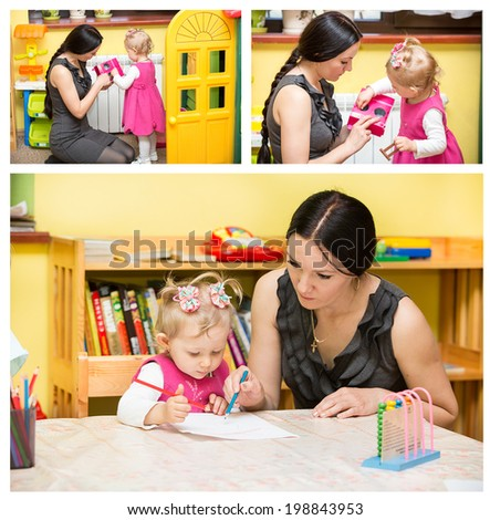 Mother and child girl playing in kindergarten in Montessori preschool Class - stock photo