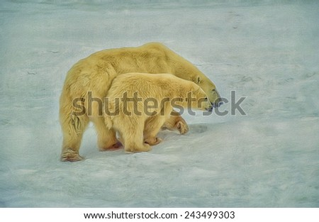 Mother and cub polar bears painted against textured background - stock photo