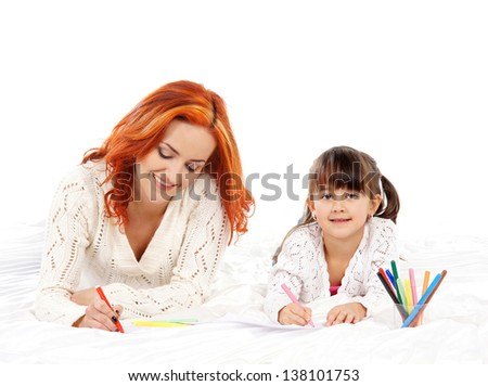 Mother and daughter drawing isolated on white background - stock photo