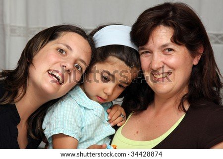 Mother and daughter, family photo - stock photo
