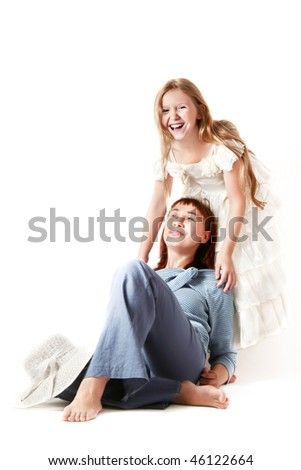 Mother and daughter. Happy laughing woman and girl isolated on white background. - stock photo