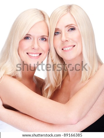 mother and daughter- natural beauty, over white - stock photo