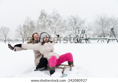 Mother and daughter on a sledge in a wintry park,Copy space - stock photo