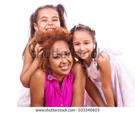 Mother and daughters - stock photo