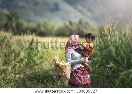 Mother and daughters in the garden corn . - stock photo