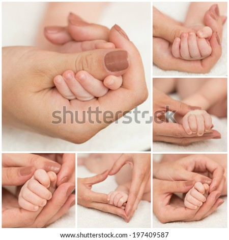mother and father hold hand of baby. Collage - stock photo